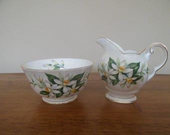 Tuscan China Bridal Flower Milk Jug and Sugar Bowl (Espresso size)