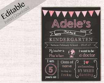 First Day of School Chalkboard Print, Editable Text, DIY, Art Print, Chalkboard Sign, Kindergarten, Grade School, INSTANT DOWNLOAD