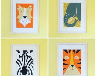 Framed Safari Animal Portraits
