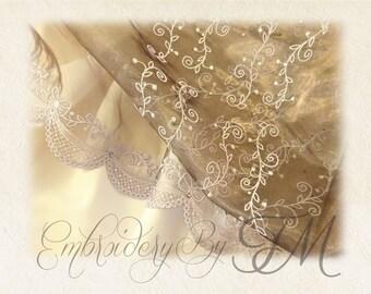 Organza Embroidery - Design pearl / 9 design variations/FSL on organza