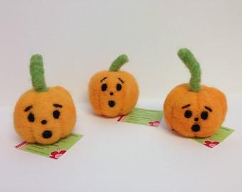 Needle Felted Jack O Lantern Pumpkin, Scared Face