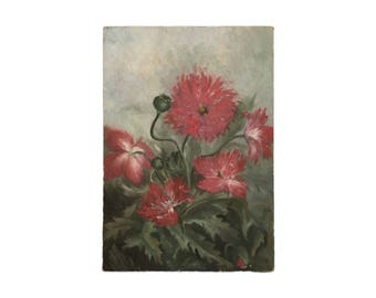 Antique Oil Painting of Poppies
