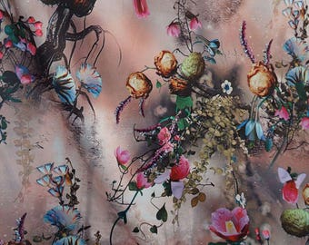 Luscious Blossoms   Stretch Satin,Imported.