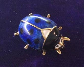 14K enamelled Lady Bug brooch pin vintage antique # 131
