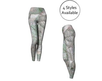 Leaves Printed Leggings, Long or Capris, Nature Yoga Clothes, Exercise Tights Leggins, XS S M L XL, Stretch Spandex Pants, Gray Beige Green