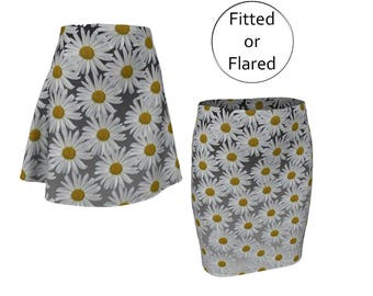 Floral Printed Skirt, Fitted Pencil or Flared Skate Skirt, Spandex Stretch Mid Rise with Elastic Waist, XS S M L XL, Daisy Black Gray Yellow