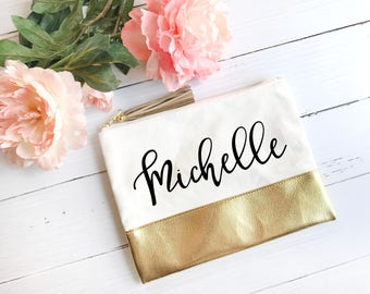 Customized Canvas Makeup Bag with Gold Bottom // Makeup Pouch, Pen Pouch, Gold Pouch, Gold Makeup Bag, Custom Makeup Bag, Gift for Her