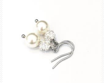 Bridal Earrings, Drop Pearl Earrings, Pearl Earrings, Wedding Earrings, gift bridesmaid, Swarovski pearl, stainless steel, surgical steel