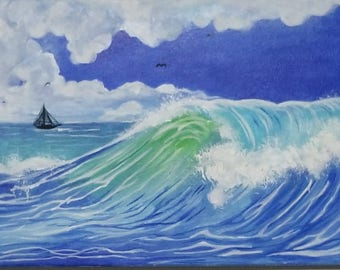 Beautiful ocean and sailboat painting, Blue made in acrylic,