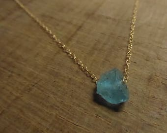 Raw Apatite Necklace Rough Gemstone Necklace Blue/Green Genuine Gemstone Necklace Raw Gemstone Rough gemstone