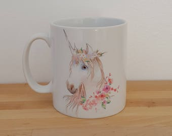 Unicorn 10oz White Mug. Can be personalised with a name and message