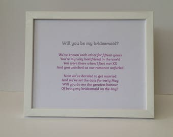 Bespoke will you be my bridesmaid poem, best man proposal, Personalised will you be my flower girl, pageboy, Thank you scroll from bride