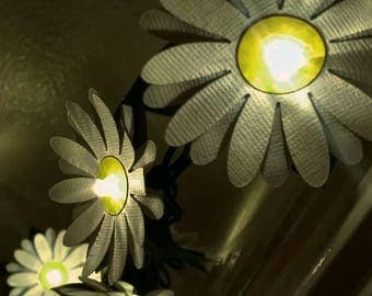 30 Decorative handmade paper daisy string lights - 10' LED twinkle lights