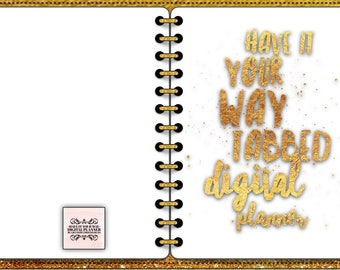 Have It Your Way Gold Leather Digital Planner, Sparkle Trim for GoodNotes, CLOSEOUT