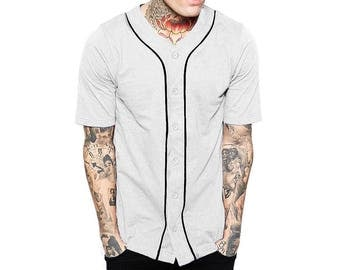 UP Mens Baseball JERSEY T-Shirts Team Tee Button Down Solid Plain Sports_1UPA0001_White/ Black