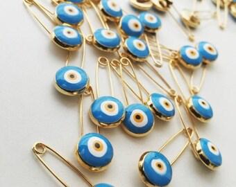 PROMO Evil eye safety pin, 5 pcs, turquoise evil eye stroller pin, safety pins, evil eye stroller charm, baby boy pin, baby girl pin, baby p