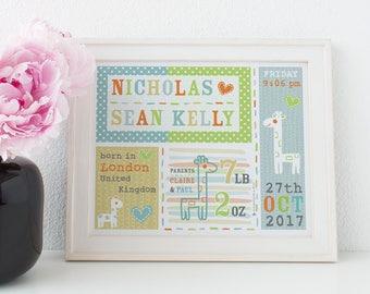 New Baby Print, Birth Announcement, Nursery Art, PERSONALISED Baby Gift, Baby Boy Gift, Giraffes Print, New Baby Gift, Christening Gift
