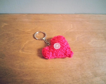 Small Pink Heart Handmade Knitted Keyring