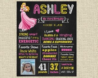 Sleeping Beauty Birthday Chalkboard Poster - Disney Princess Aurora Wall Art design - Birthday Party Poster Sign - Any Age
