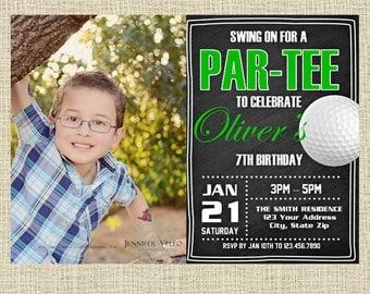 Golf Chalkboard Invitation - Sports Party Invitation - Birthday Party Invite - Digital Customized