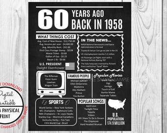 60 Years Ago Back in 1958, 60th Birthday Poster Sign, Back in 1958 Chalkboard Style Poster, Printable, Instant Download, Anniversary Gift