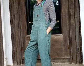 Vintage 1940s 50s Big Smith overalls bibs USA union made Men's small 30 waist green world war ll