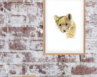 April the Lion Cub-Flowers Art Print, Wildlife Art print,  Animal Art , Artwork NURSERY ART