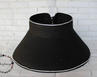 Black Rhinestone Hat - Open Top Hat - Woven Straw Hat - Bling Hat - Vacation Hat - Traveling Hat - Vintage Style Hat - Bachelorette Hat
