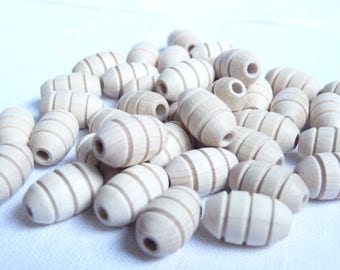 Wood olives beads with 3 grooves / Natural and unfinished / teething beads / wooden beads for jewelry craft projects / 18 mm wooden beads