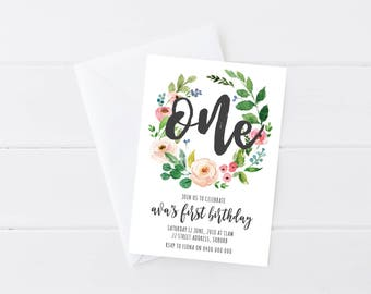 Garden Floral Wreath First Birthday Invitation | Kids Birthday Invitation | Number First Birthday Invitation