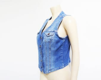 Denim Waistcoat, UK8, Vinage Vest, Retro Denim, Fitted Denim, Retro, Denim Vest, Festival Clothing, Denim Top, Vest, Waistcoat