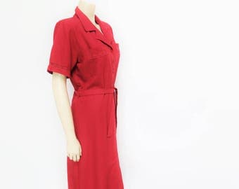 Red Dress, UK14, 90s Clothing, Shirt Dress, Secretary Dress, Formal Dress, Belted Dress, Clothing, Dresses, 90s Fashion, Smart, Womenswear