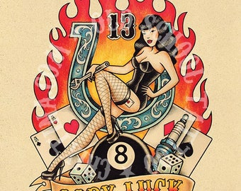 Lady Luck. Old School Tattoo print.