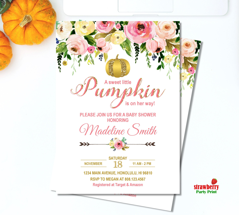 Girl Fall Baby Shower Invitation. Little Pumpkin Baby Shower ...