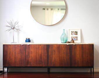 1950's Florence Knoll Rosewood Sideboard w/ Travertine Top