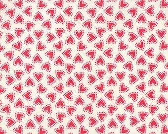 """By The HALF YARD - North Woods by Kate Spain for Moda, #27247-21 Bliss in Snow Cranberry, 1/4"""" Red Dotted Christmas Hearts on Creamy White"""