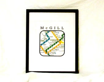 McGill University Neighborhood Travel Print Montreal Metro Map Digital Wall Art Instant Download