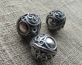 Silver beads-Sterling Silver 925-Round 14.5 mm beads-Round Seamless Beads for Jewelry-Big beads-antique silver ethnic beads