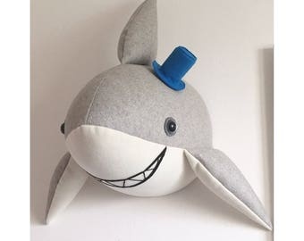 shark - head Faux taxidermy. Shark bust, shark decorative wall mount toy. Nursery, kids room decor