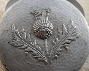 Round Aluminium Tin, Retro Storage Tin, Vintage Tin, Thistle Design, Circular Tin, Kitchen Decor, Retro Kitchenalia, St Elon England