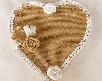 Heart Jute canvas and white lace guest book