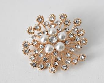 Gold Vintage-Look Pearl and Diamante Diamonds Bridal Brooch