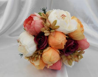 autumn winter bouquet peony bouquet brides bouquet bridal bouquet burgundy roses gold ivory deep pink peonies