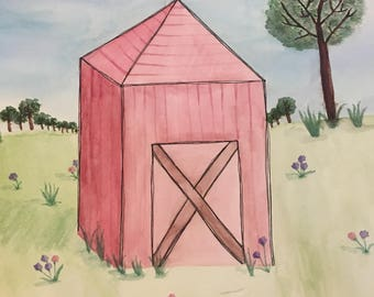 Original hand painted country farm watercolor