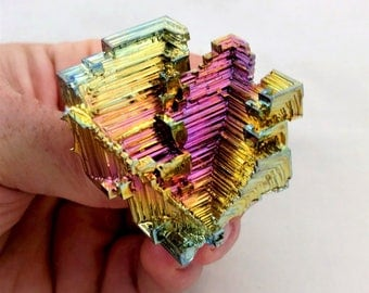 Rainbow Bismuth Crystal 59g Lab Grown Jewelry Display Specimen Educational Metaphysical Metal Healing Stone