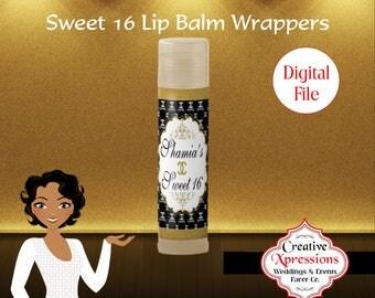 Sweet 16 Lip Balm | Black, White and Gold | Chapstick | Inspired by Chanel | Princess Chapstick | Lip Balm