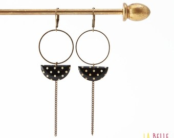 Earrings dangle half moon black dots pattern