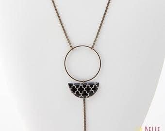 Necklace long pendant half resin Moon Black graphic pattern