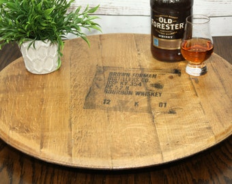 Whiskey / Bourbon Barrel Head Lazy Susan ~ Stamped with Distillery Markings