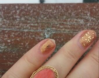 14k Gold Coral Filigree Ring